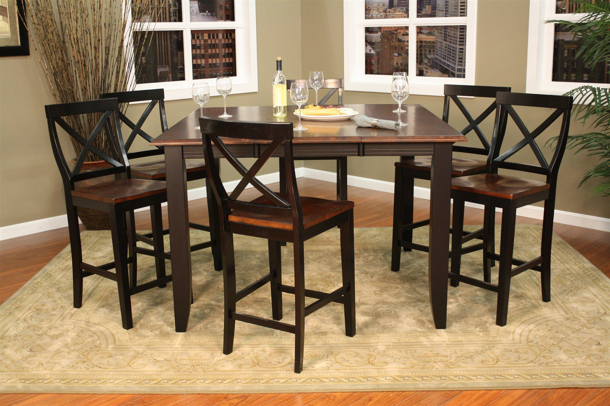 Dark Wood Round Counter Height Kitchen Table And 4 Chirs Magnificent Counter Height Kitchen Tables Inspiration Design