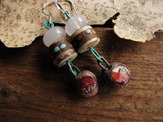 rose quartz and tibetan bead earrings by SparrowSalvageStudio