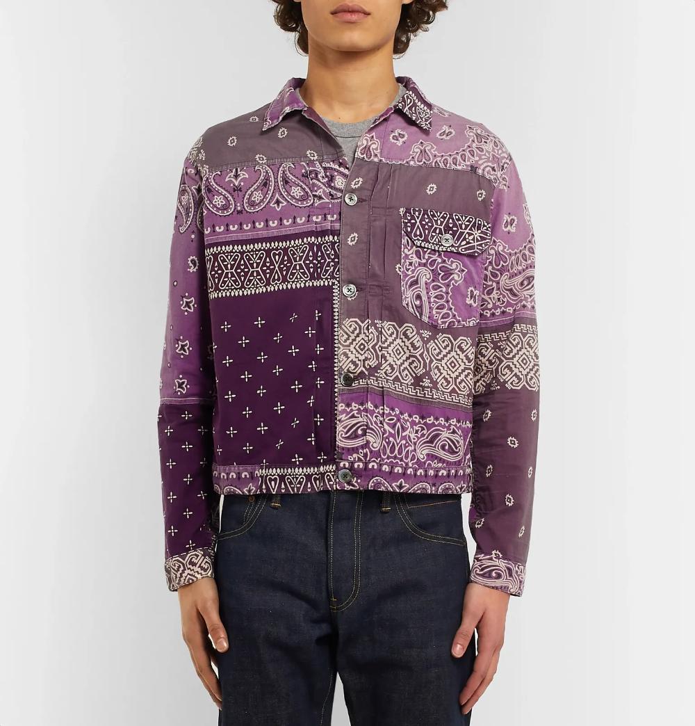 Purple Patchwork Bandana Print Denim Jacket Kapital Printed Denim Jacket Printed Denim Bandana Print [ 1044 x 1000 Pixel ]
