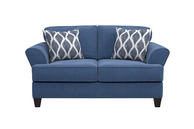 Best Amenia Loveseat And Pillows By Ashley Homestore Blue 400 x 300