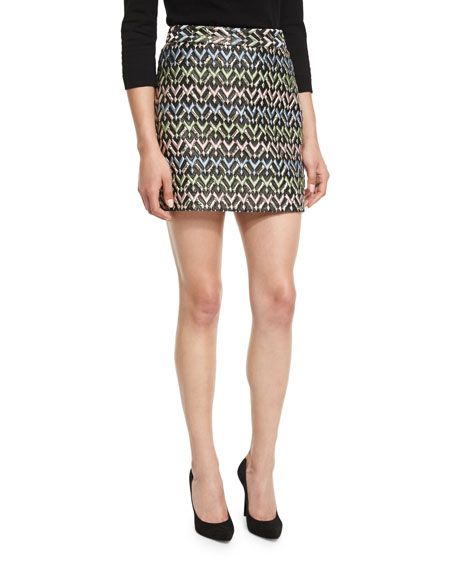 106395497ecf MILLY A-LINE CHEVRON BROCADE MODERN MINI SKIRT, MULTI. #milly #cloth ...