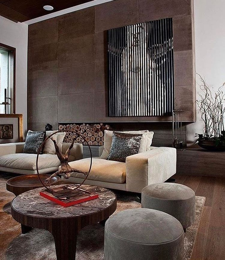 Living room || contemporary || faux leather wall panelling ...