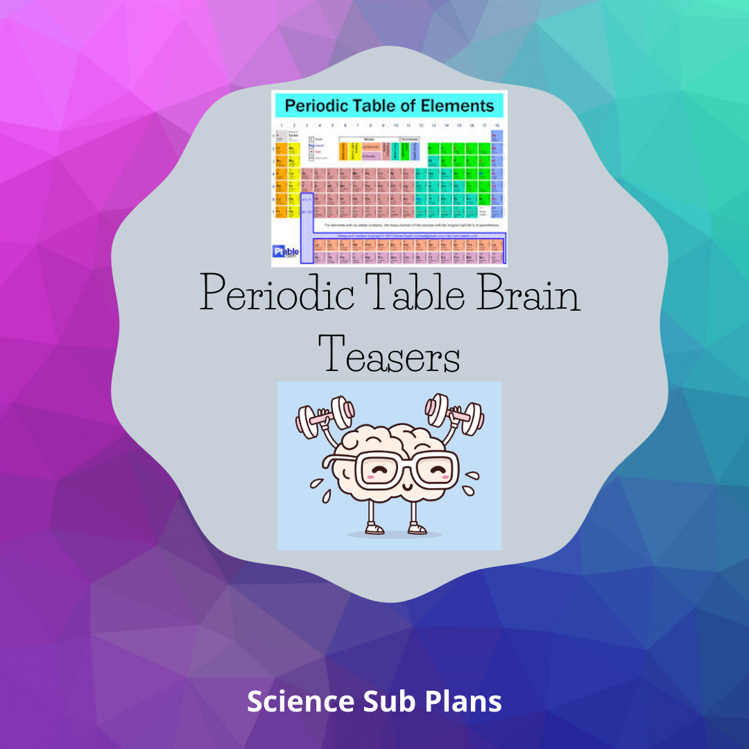 Distance Learning Periodic Table Brain Teasers Brain