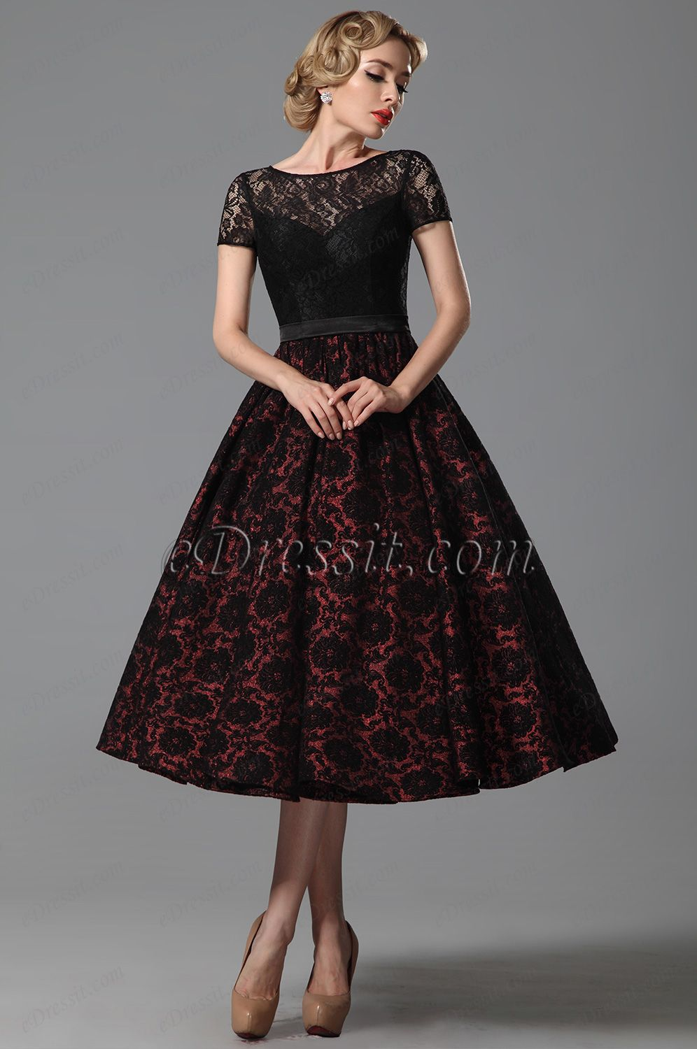 Vintage Short Lace Sleeves Tea Length Cocktail Dress Party Dress ...