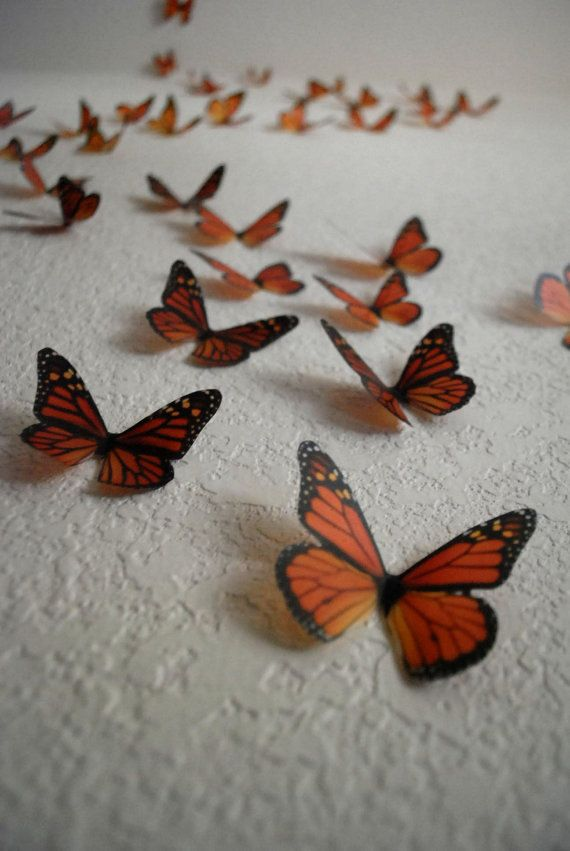 3d Monarchs Set Of 100 By Heidishubbub On Etsy 60 00 3d Wall Art Art Set Wall Art Sets