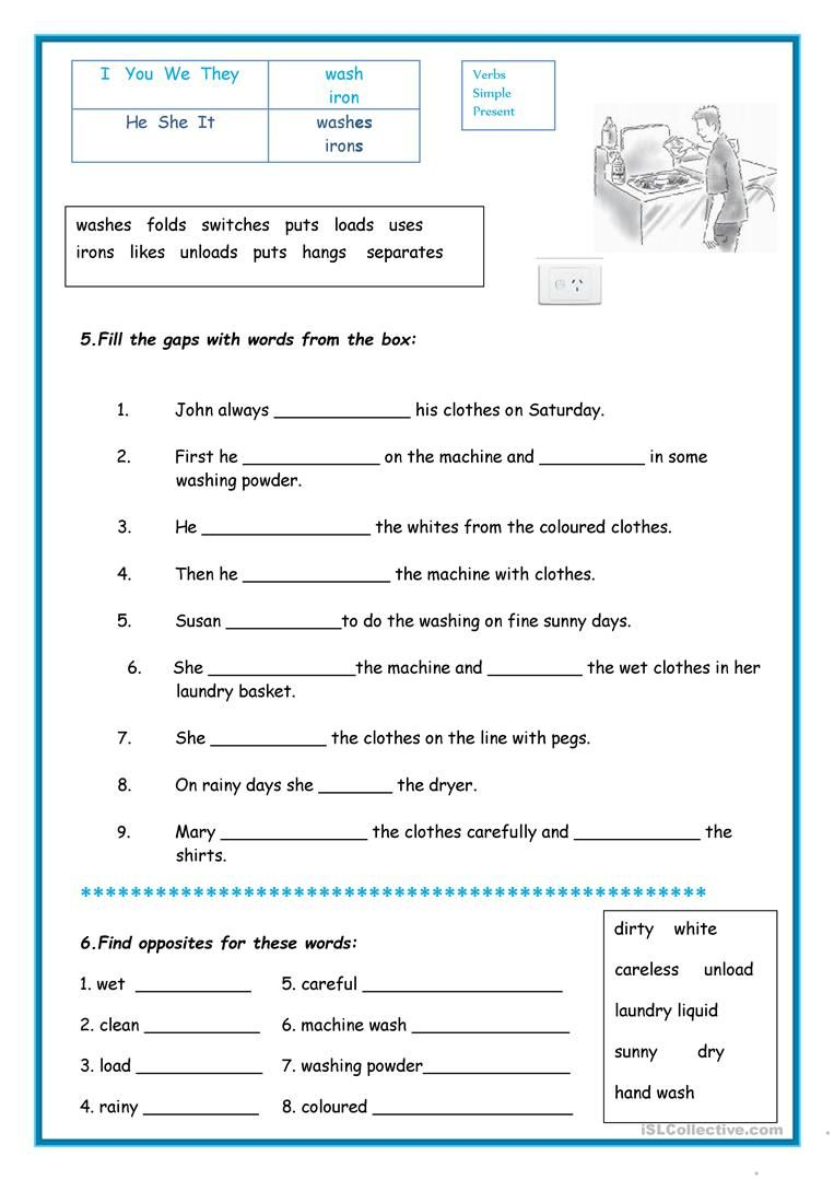 Laundry - English ESL Worksheets for distance learning and physical  classrooms   Life skills lessons [ 1079 x 763 Pixel ]