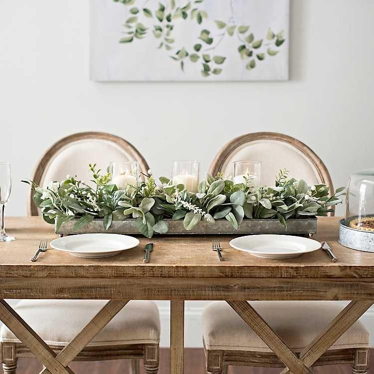 Green Eucalyptus Galvanized Centerpiece Dining Room Table Centerpieces Dining Table Centerpiece Dinning Room Table Decor