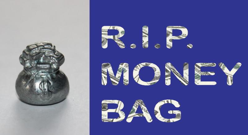 Monopoly Token Sack of Money Game Piece Retired Metal Miniature Bag