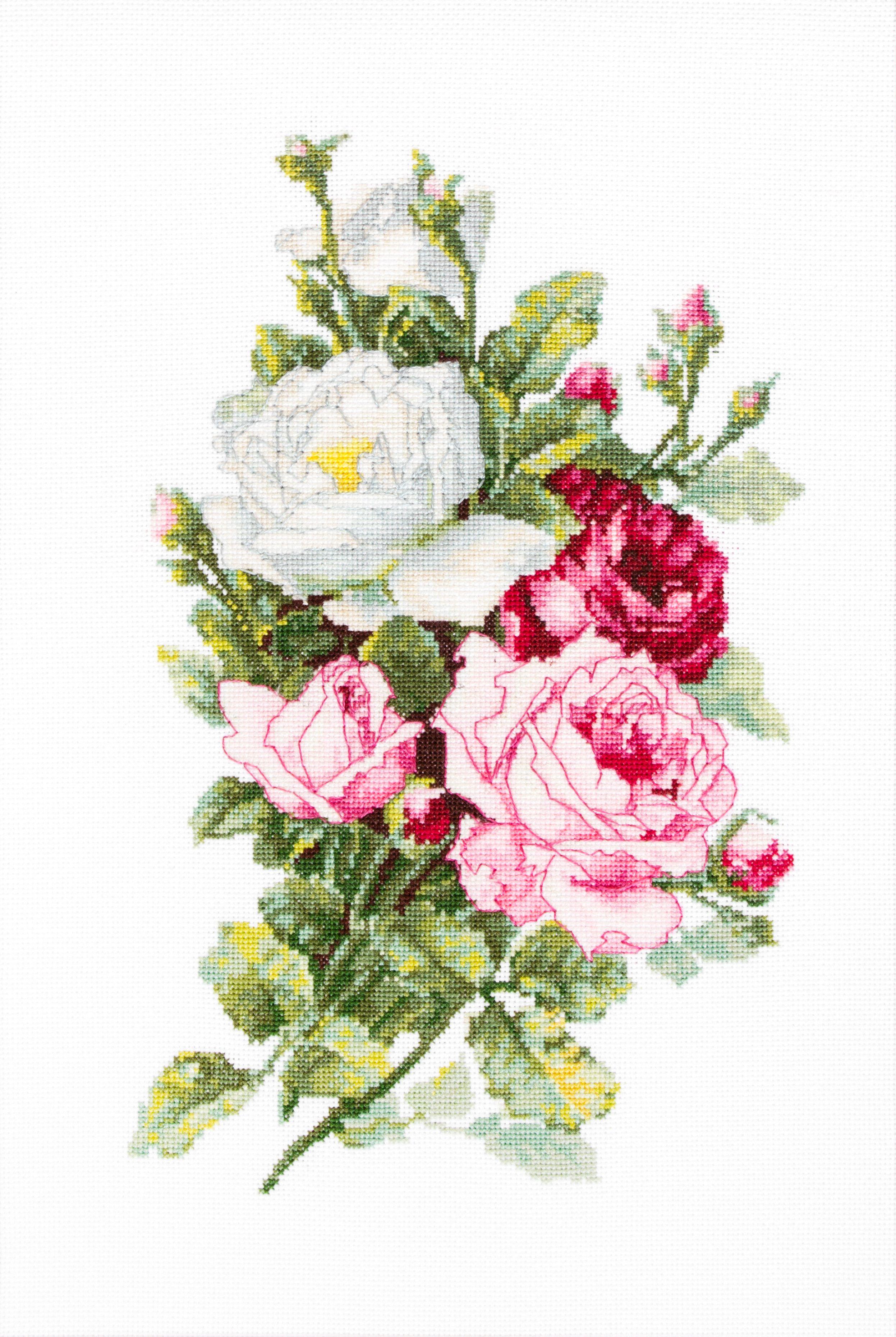 Cross-stitch bouquets of flowers scheme flower arrangements