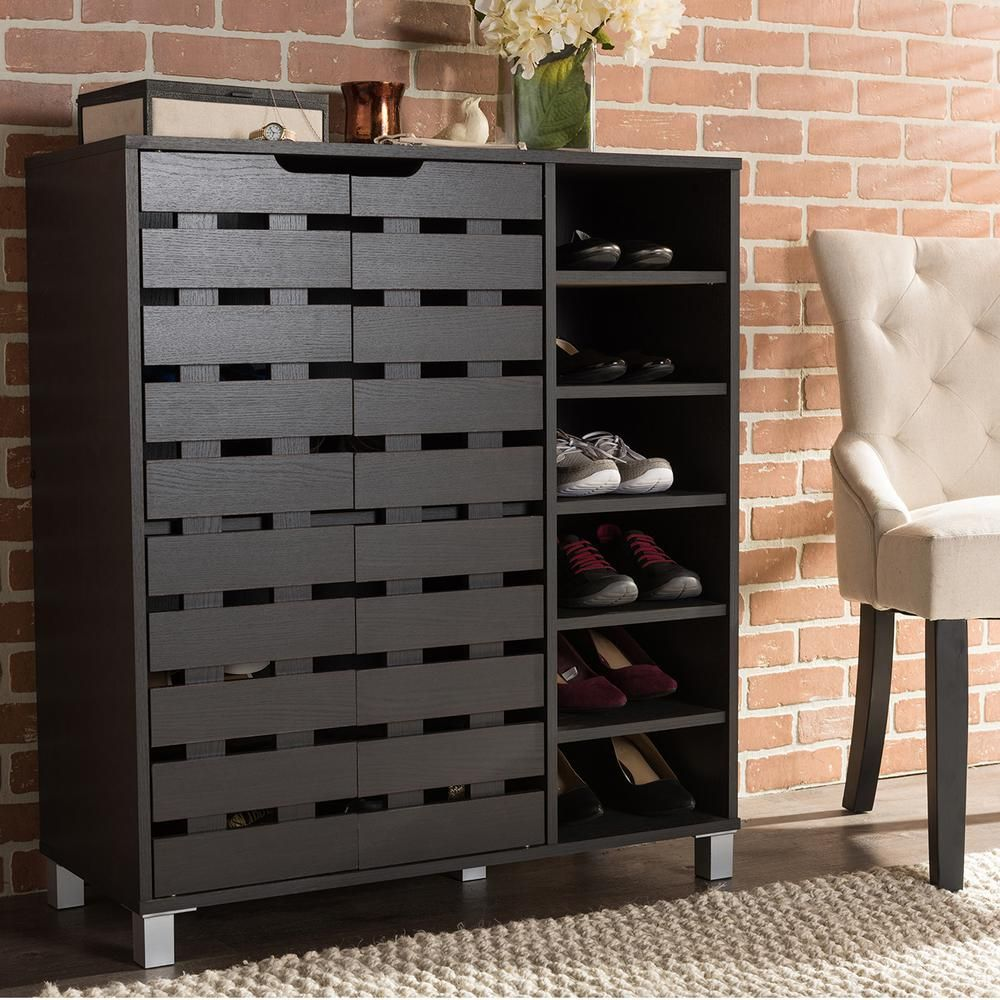 Shirley Modern And Contemporary Dark Brown Wood 2 Door Shoe Cabinet With Open Shelves