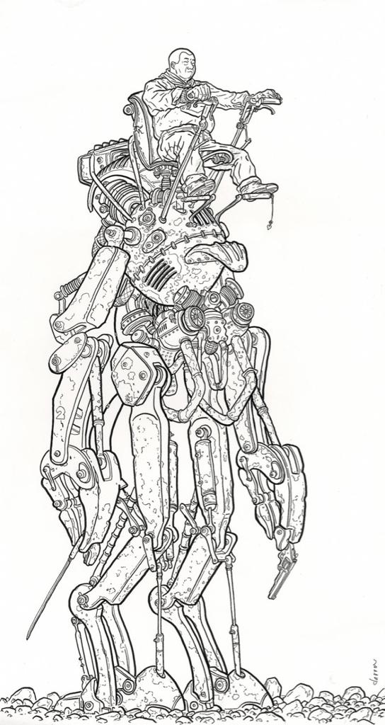 Shaolin Cowboy on a great big robot. Art by Geof Darrow