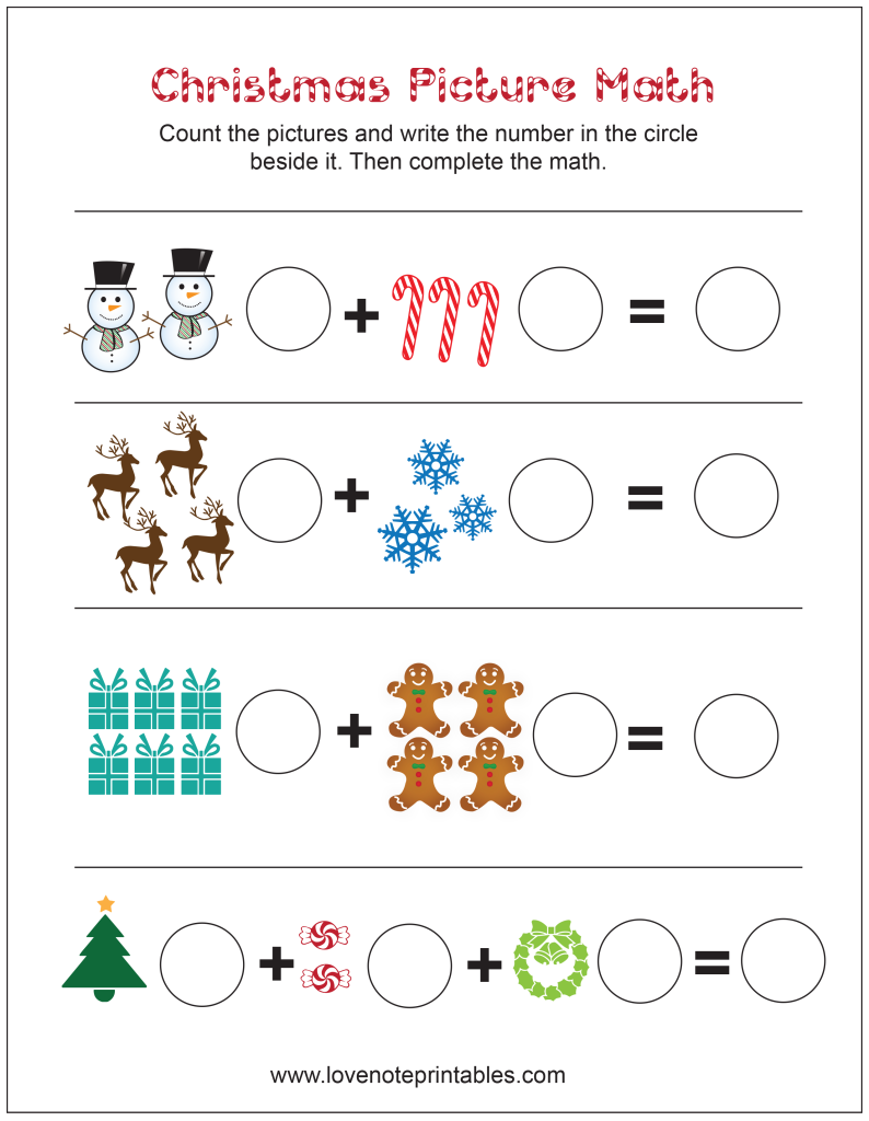 Free Christmas Themed Picture Math Worksheet Love Note Printable Christmas Math Worksheets Kindergarten Christmas Math Worksheets Christmas Math Kindergarten