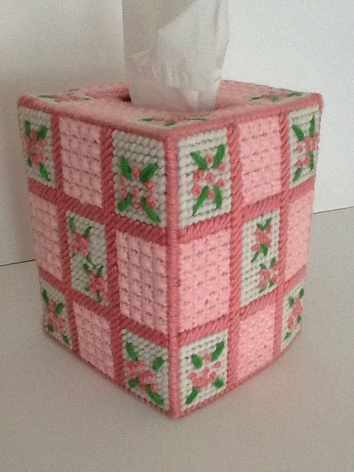 French Knot Flowers Needlepoint Plastic Canvas Tissue Box Cover