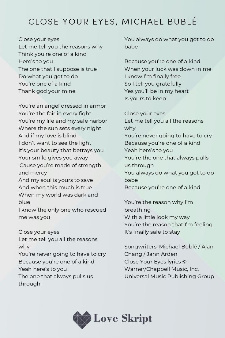 Close your eyes, Michael Bublé Including song lyrics to