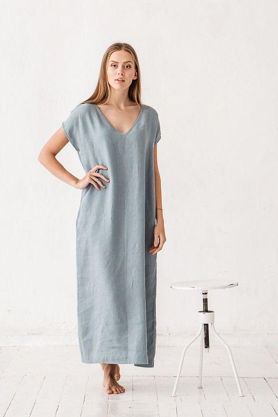Linen V neck dress Sea green dress Loose dress Linen tunic