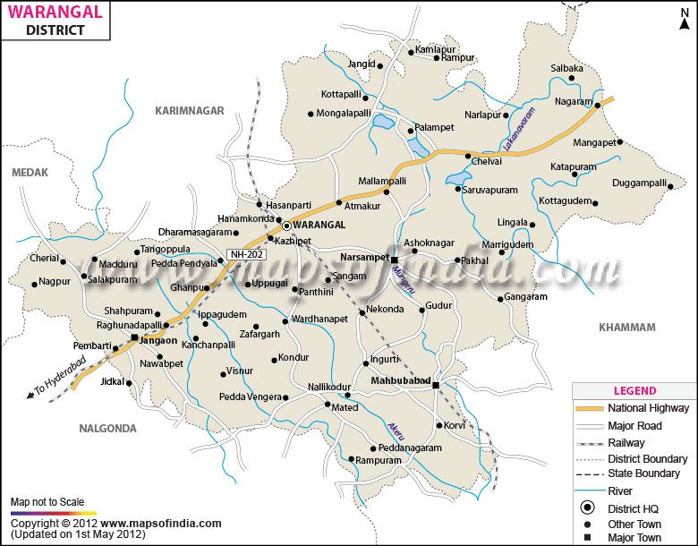 Warangal district is situated to the northern area of