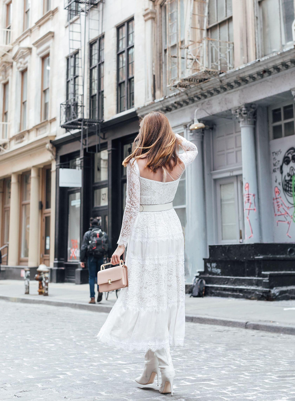 73a4fa95d3c Sydne Style wears tadashi shoji white lace dress at new york fashion week   winterwhite