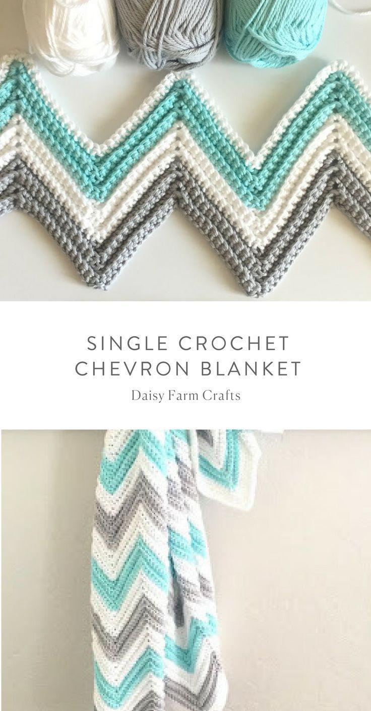 Free Pattern - Single Crochet Chevron Blanket #crochet - Crochet - Tutorials,  #Blanket #Chev... #singlecrochet