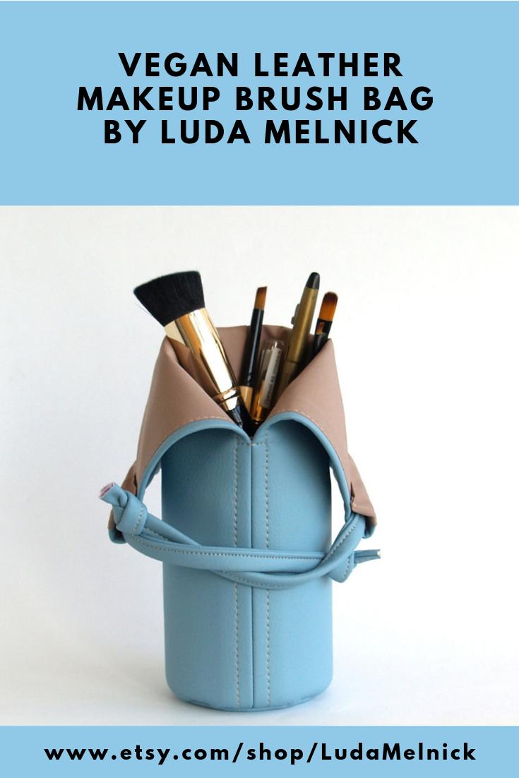 Sky Blue Makeup Brush Bag Vegan Makeup Bag Vegan Leather