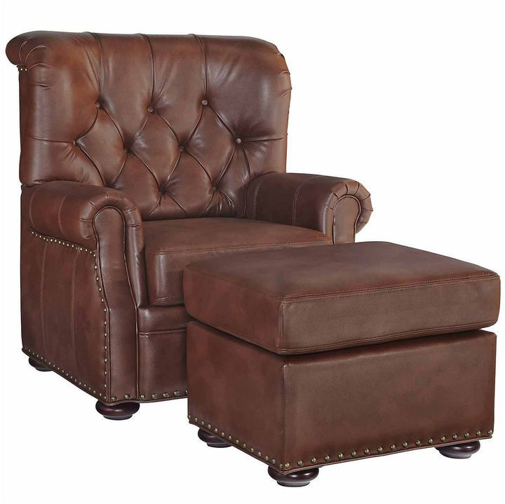 Miles Chair Ottoman Faux Leather Roll Arm Chair Faux Leather Chair Stationary Chairs Rolled Arm Chair