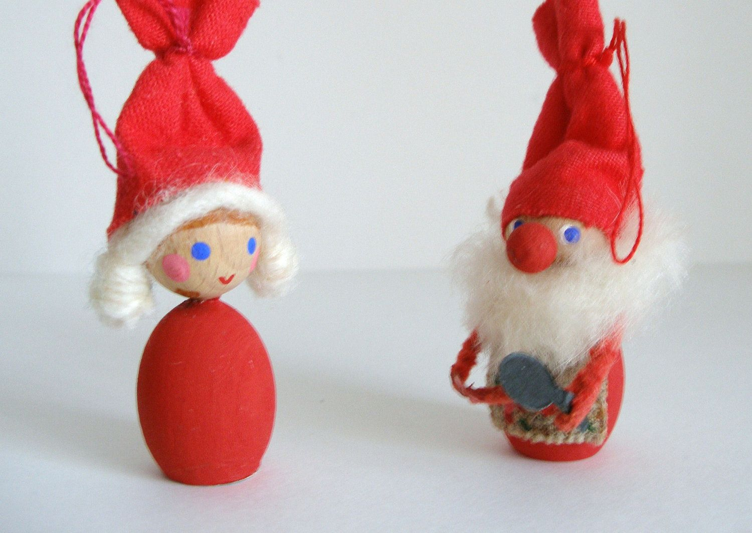 Vintage Danish Christmas Ornaments - Red Gnome Pair by ...