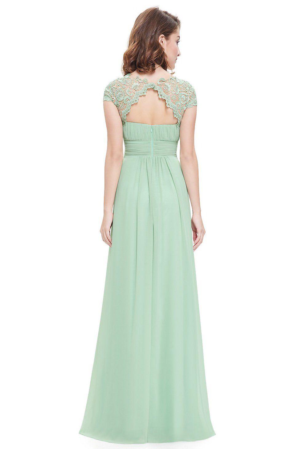 Mint green illusion lace top chiffon long bridesmaid dress iichic
