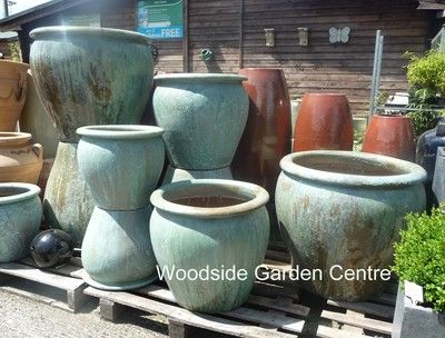 Extra Large Pots And Opal Green Glazed Pot Tree Garden Planter