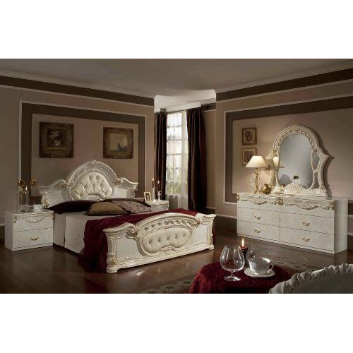 Rococo - Italian Classic Beige Bedroom Set  Home - Italian Bedroom Sets