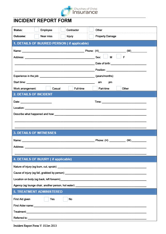 Incident Report Form Template Qld 4 Templates Example Templates Example