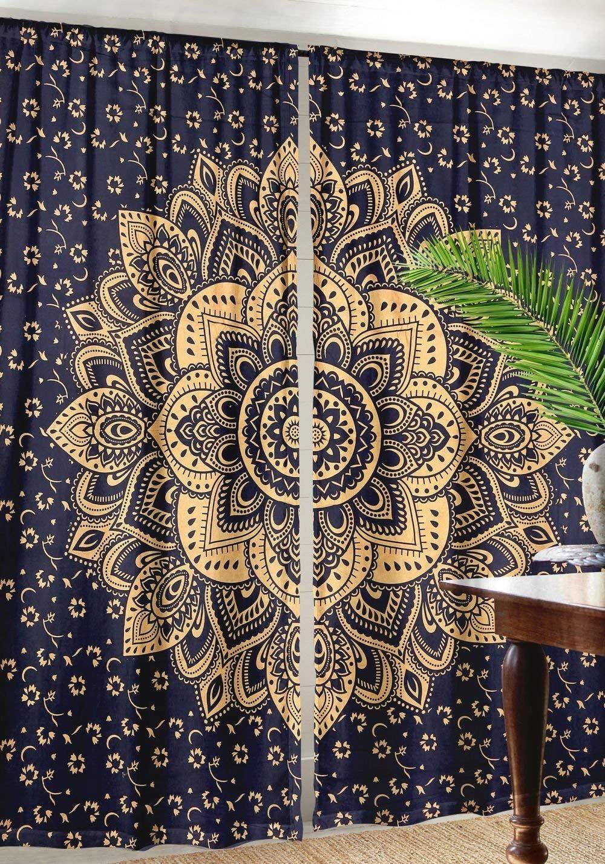 Peacock Mandala Wall Hanging Door Window Curtain Drape Valance Indian Hippie Art