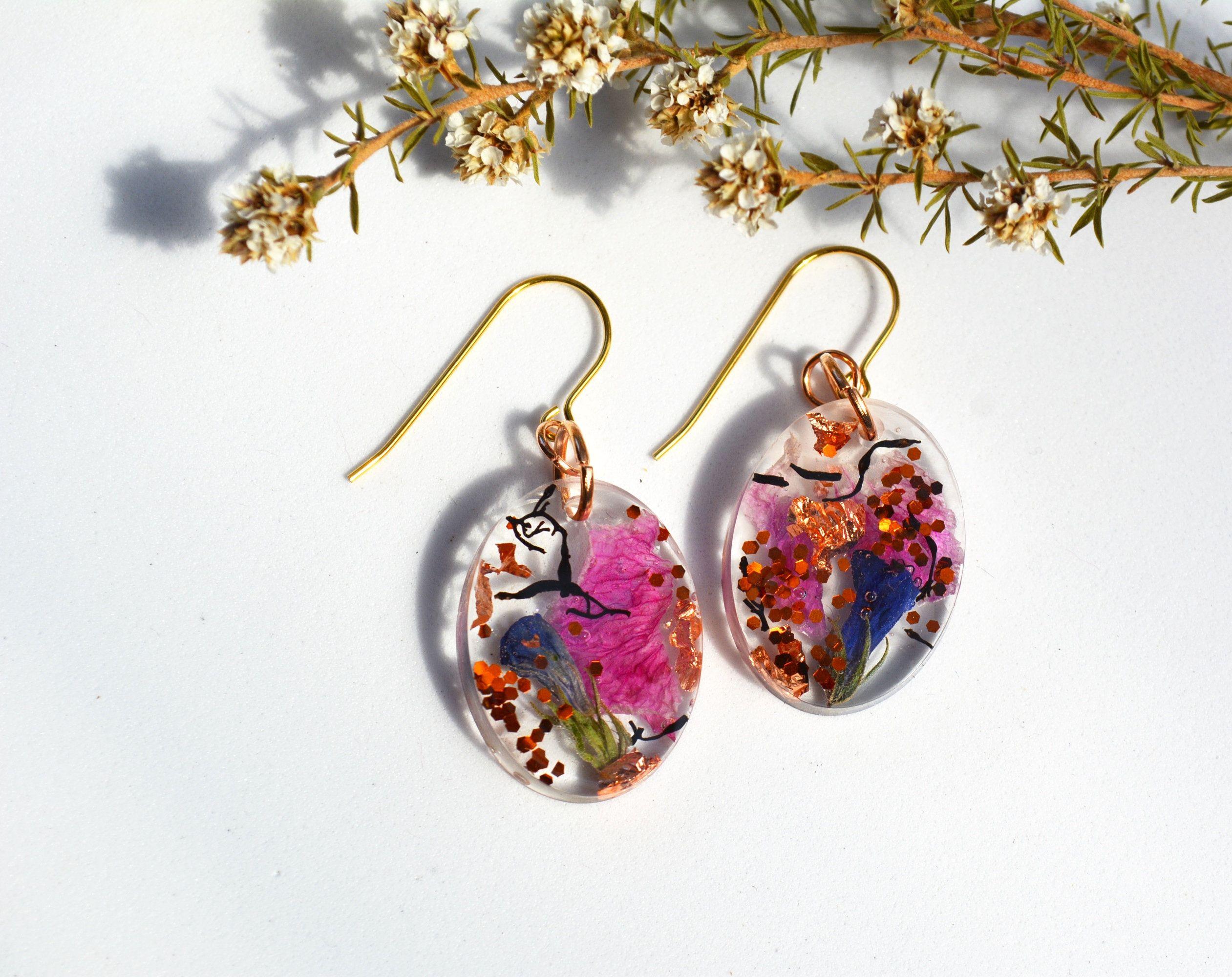 2ee661b265d04b Real Flower Resin Jewelry, Pressed Flower earrings, Resin Earrings, Flower  Petal Dangles, Oval Earrings, Botanical Earrings, Nature Gift
