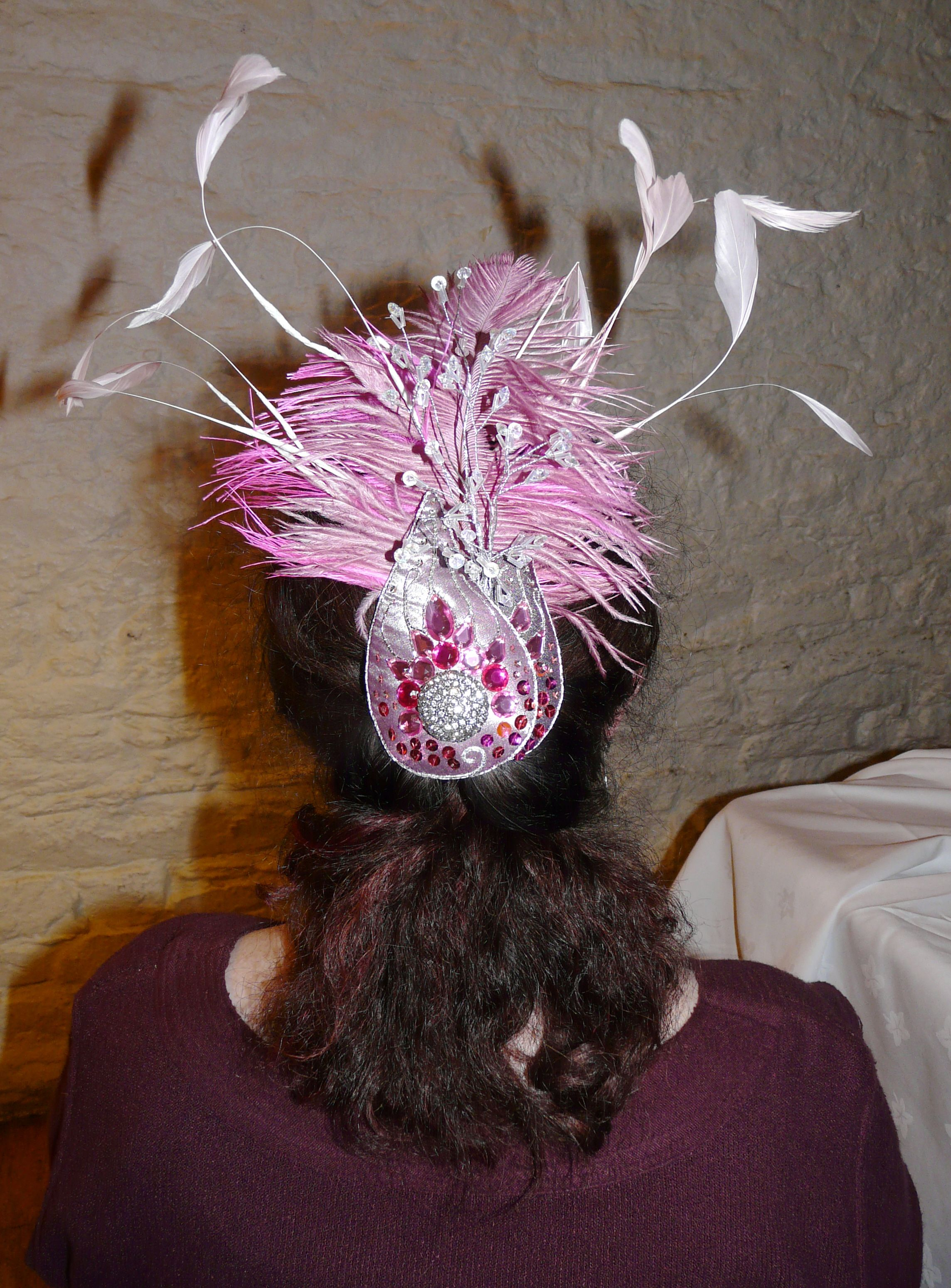 Fascinator. 3-D embroidery. Purchased diamante embellishment and wired sparkles. Plastic gems, feathers.