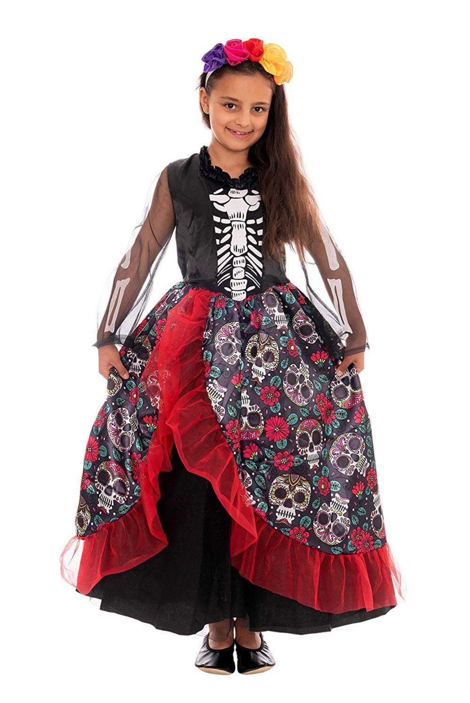 Disfraz de Esqueleto Mexicana, niñas, Incluye Vestido y