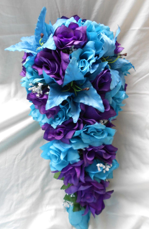 Bride purple and turquoise cascade bouquet cascading