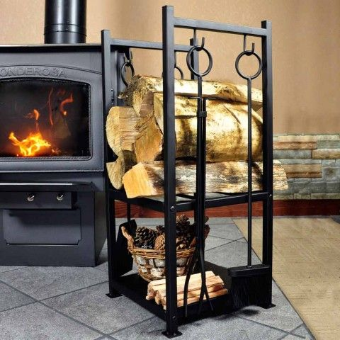 Woodeze Contemporary Hearth Firewood Rack With Tools Black
