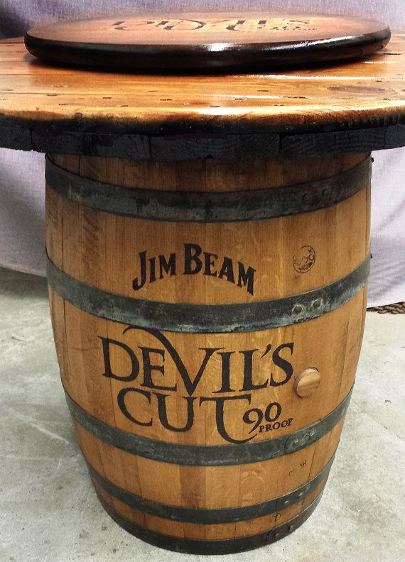 Jim Beam Devilu0027s Cut Barrel Table For Rustic Home By WhiskeyCartel