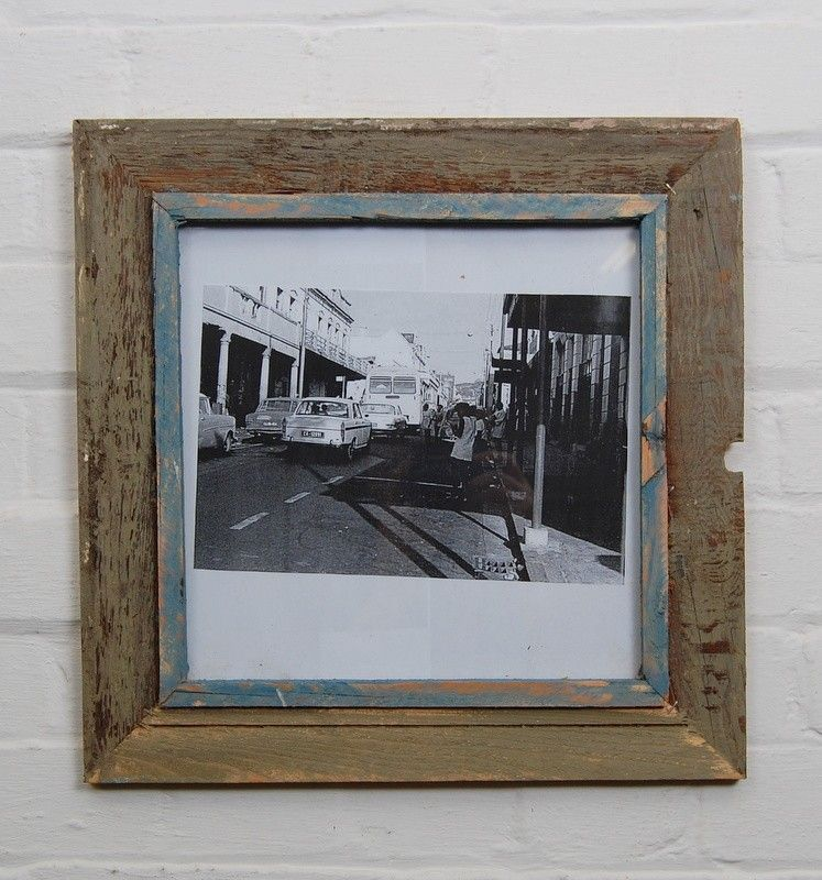 Extra Large square distressed frame Grey and Blue - XL Square ...