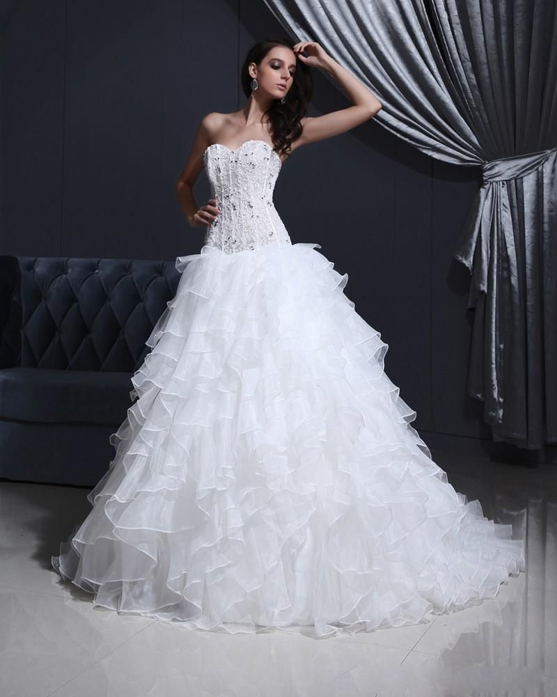 Tulle Organza Strapless Appliques Bead A-line Wedding Dress