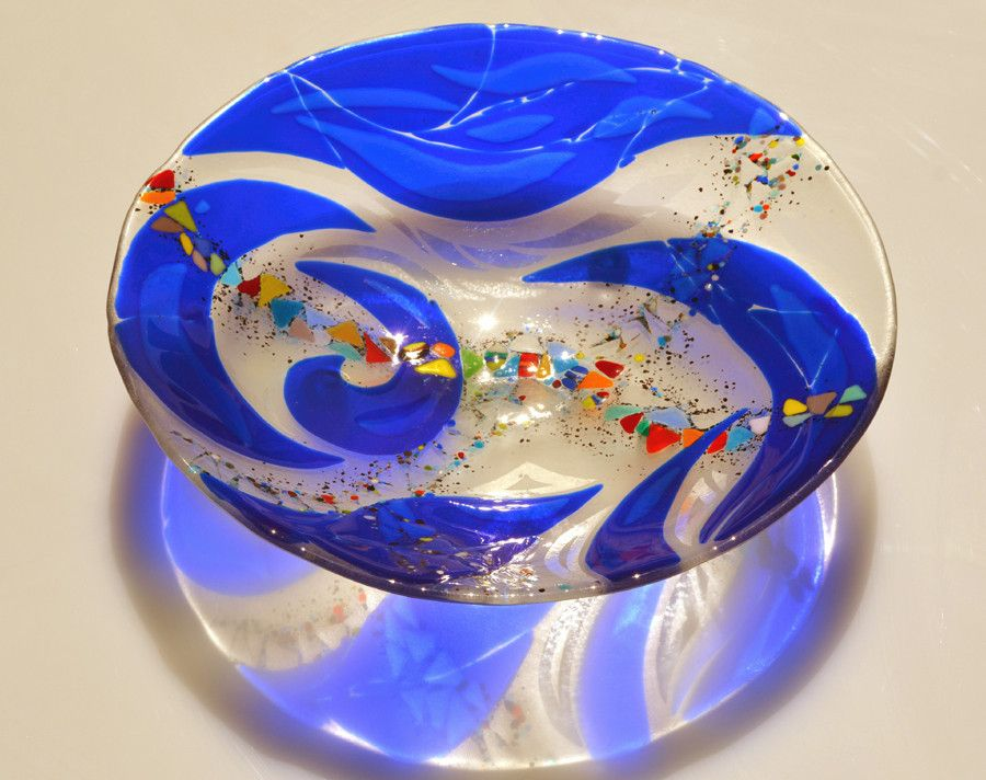 Blue flow bowl 20 fused glass bowl fused glass bowl