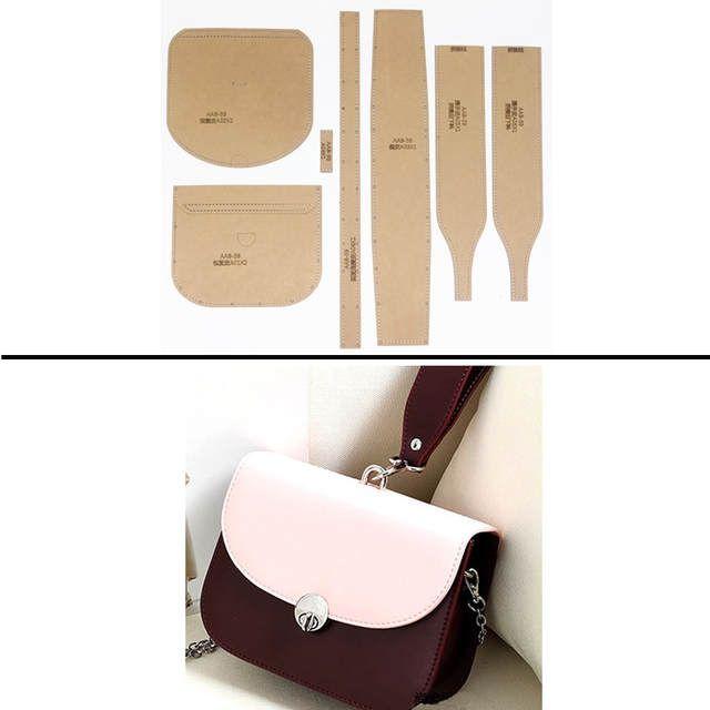 554f382da65 1 Unidades de plantillas de papel Kraft duro para manualidades de cuero DIY  bolso de mano para mujer patrón de costura 17x14x7 cm