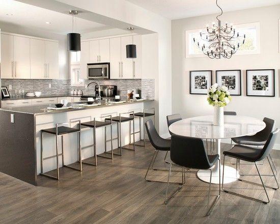 Gorgeous Dark Wood Laminate Flooring White Kitchen Cabinet White