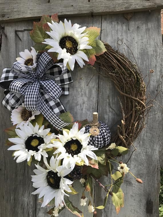 Fall Ivory Sunflower Grapevine Wreath for front door, wreaths, Fall wreath for front door, Summer farmhouse Wreath, Welcome Friends Wreath -   12 holiday Wreaths spring ideas