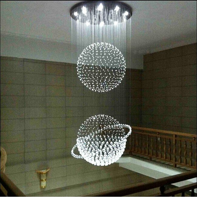 Pas cher Moderne br¨ve spirale lustre en cristal Dia60 H200cm