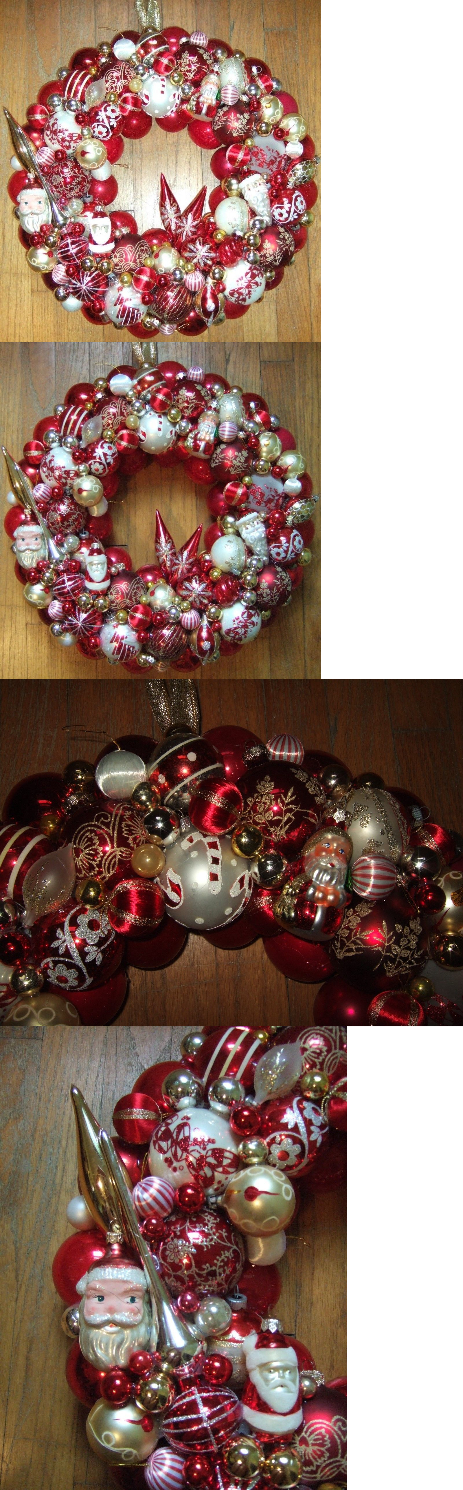 christmas decorations vintage handmade christmas ornament wreath red white 185 glass holiday decor