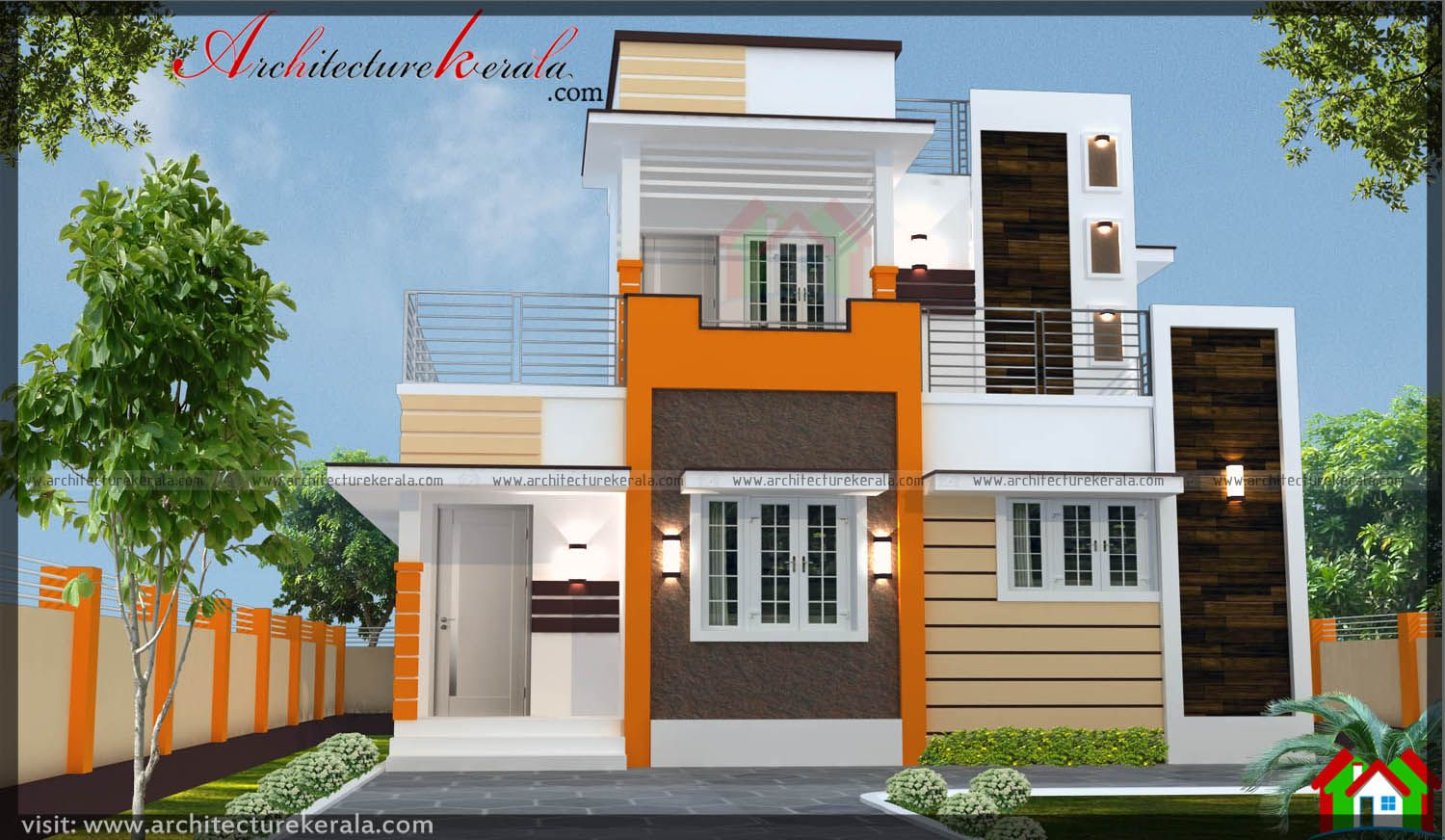 1300 Sq Ft House Plan And Contemporary Style Elevation Separate Drawing And Dining Three Bedrooms With Attached Contemporary House Indian House Plans House