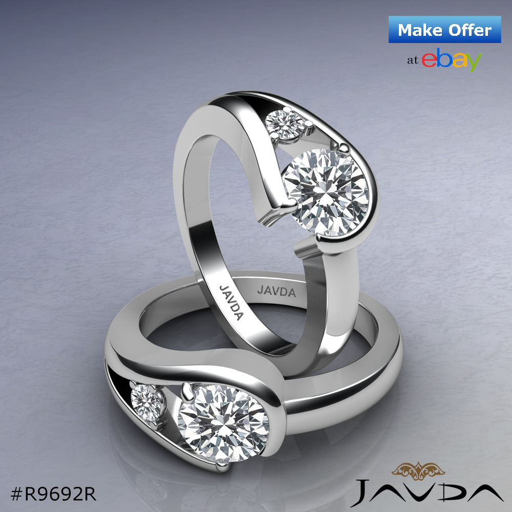 Prong Set Natural Round Diamond Engagement Ring GIA F VS2 14k White Gold 1.05ct.