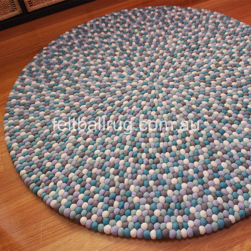 Blue Lagoon Felt Ball Rug