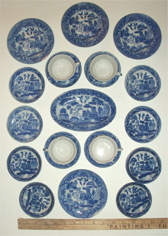 Adorable Antique Childrens Blue Willow Plate Set Miniature Play Tea Party Dinnerware China 21 Piece Blue Willow China Pattern Blue Willow China Blue Willow