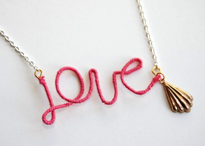 DIY: thread wrapped love necklace