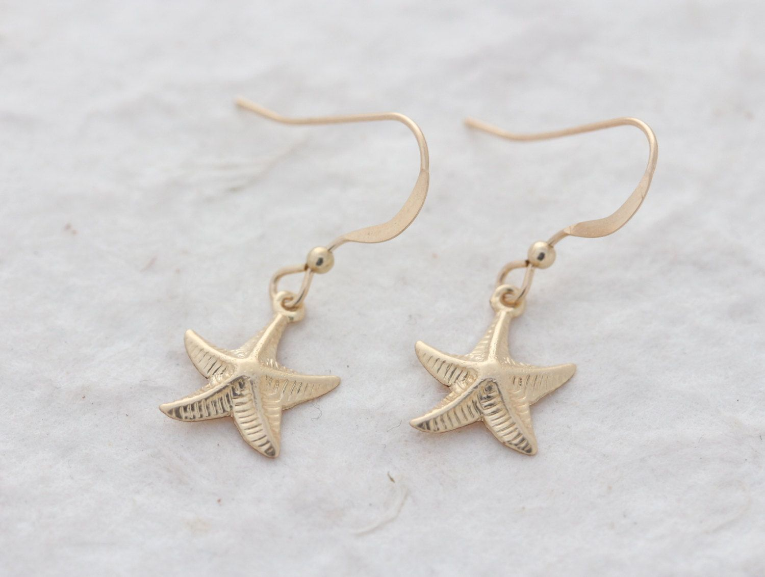 Gold Starfish Earrings, Gold Filled Starfish Earrings, Lightweight, Dainty  Gold Earrings, Gold